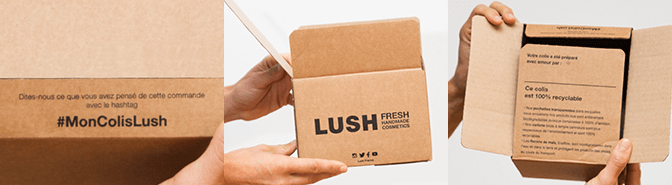 Le design packaging e-commerce de Lush